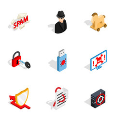 spam virus thief icons isometric 3d style vector image