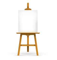 Wooden easel with blank canvas vector image