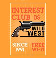 color vintage wild west banner vector image vector image