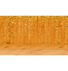 falling gold confetti in wooden room vector image