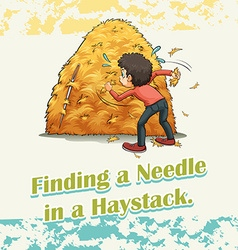Finding a needle in a haystack vector image vector image