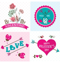 Valentines day cards with ornaments vector image vector image
