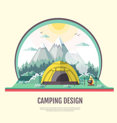 flat design of retro landscape and camping vector image vector image