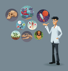 realistic color poster scientist with icons world vector image
