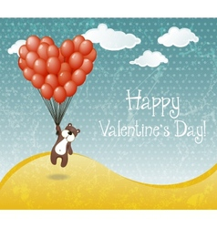 Valentines day card with flying teddy bear vector image