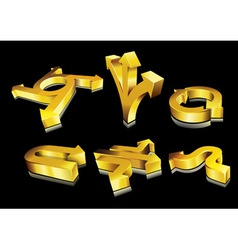 3d golden arrows vector image vector image