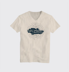 american classic muscle car t-shirt vector image vector image
