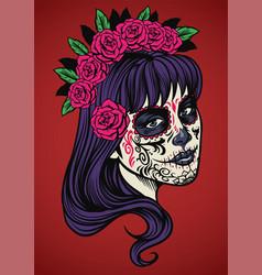 beautiful woman wearing sugar skull make up vector image vector image