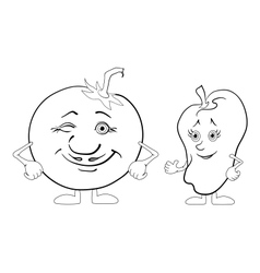 Character tomato and pepper outline vector image