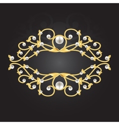 golden pearl frame vector image vector image