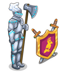 knights armor with ax and royal shield with swords vector image