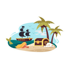 pirate uninhabited island vector image