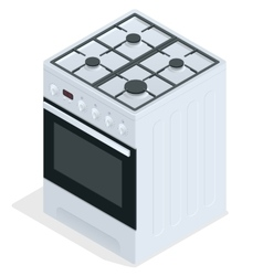 White gas stove Free standing cooker 3d vector image