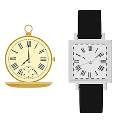Wrist watch and pocket clock vector image