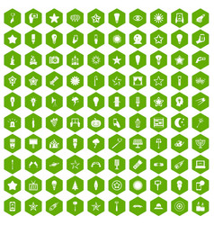 100 light icons hexagon green vector