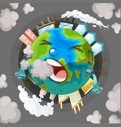 A polluted earth icon vector