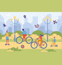 active family riding bicycle and scooter in park vector image