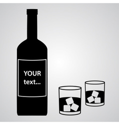 Alcohol bottle and two black glasses eps10 vector