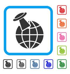 alien visit framed icon vector image