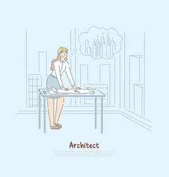 Architect imagining new project female engineer vector