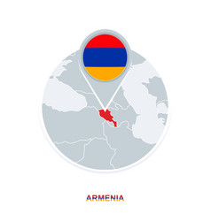Armenia map and flag map icon with highlighted vector