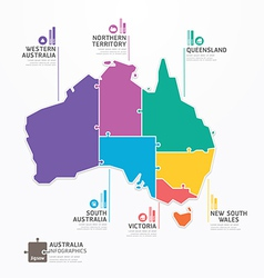 Australia Map Infographic Template jigsaw concept vector image