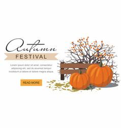 Autumn festival web banner pumpkins vector