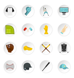 baseball icons set in flat style vector image