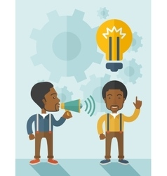Black guys with megaphone and bulb on top of head vector image