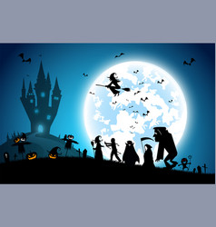 Blue backgroundfestival halloween conceptfull vector