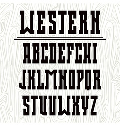 Bold serif font in western style vector