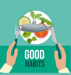 Boy and girl healthy good habits vector