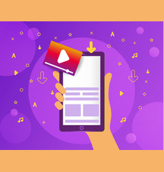 bright banner upload video on smartphone mobile vector image