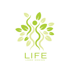 Bright green life logo with human silhouette and vector