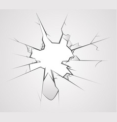 broken glass hole cracks transperent background vector image