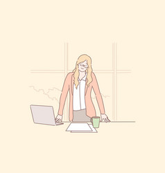 businesswoman or manager in office greeting vector image