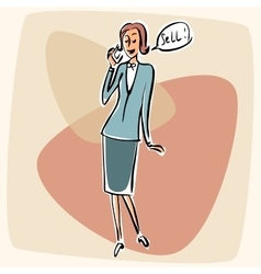 Businesswoman talking phone sell vector image