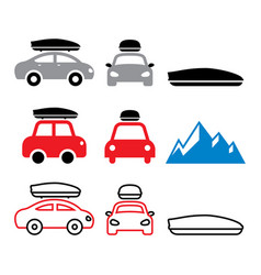 Car roof box roof rack or carrier icons vector
