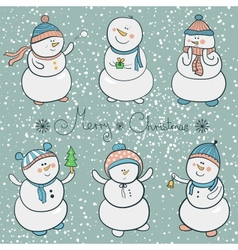 Cartoon snowmen set christmas vector image