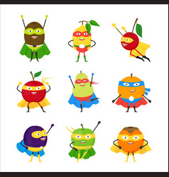 cartoon vegetables superhero characters icon set vector image