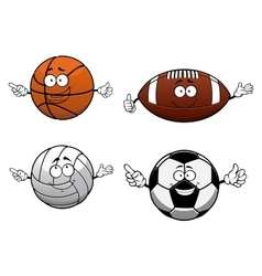 Cartooned sports balls characters with happy face vector image
