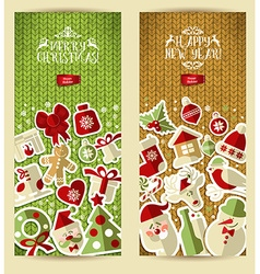 Christmas banner set on knitting texture set of vector