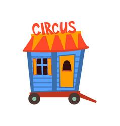 Circus trailer wagon wheel cartoon vector
