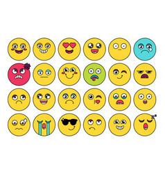 Comic cute emoji sticker pack vector