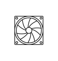 computer cooler pc hardware fan flat style vector image