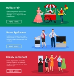 Consultants and street sellers banners set vector