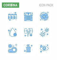 coronavirus prevention set icons 9 blue icon vector image