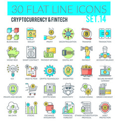 cryptocurrency and fintech icons vector image