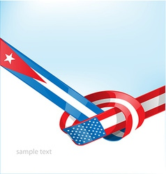 Cuba and Usa flag on background vector image