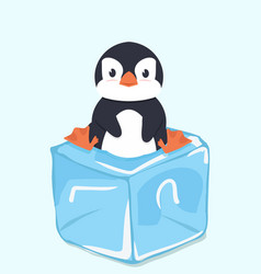 Cute penguin on ice cube vector